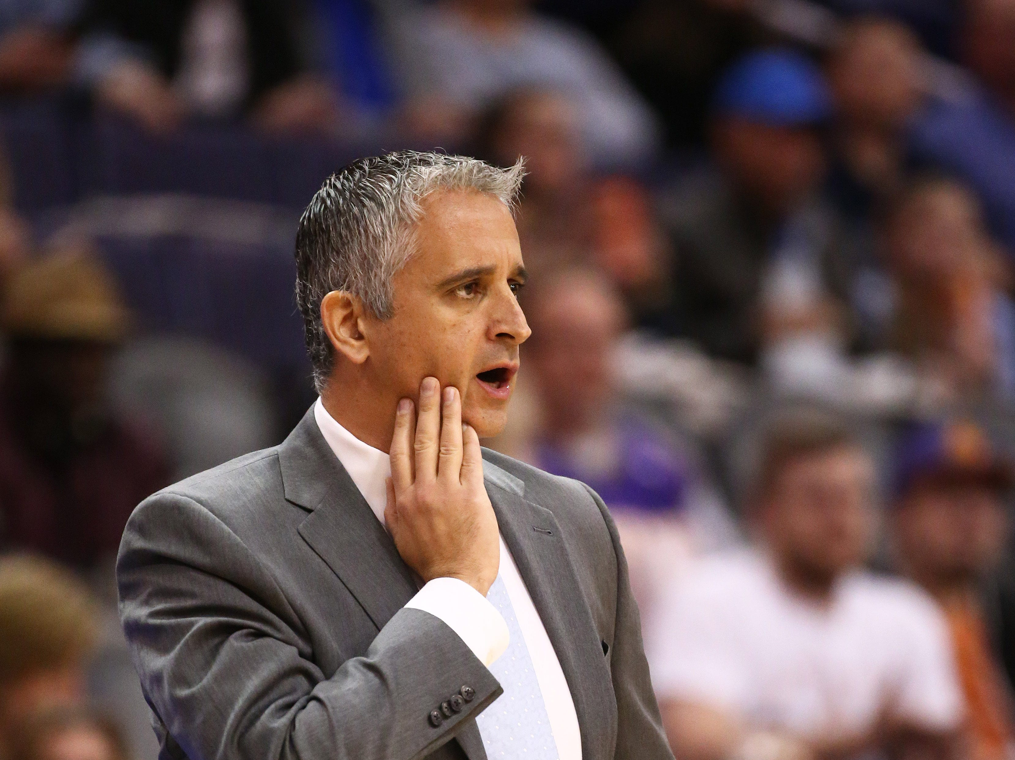 Phoenix Suns head coach Igor Kokoskov watches the action against the Minnesota Timberwolves in the first half on Jan. 22 at Talking Stick Resort Arena.