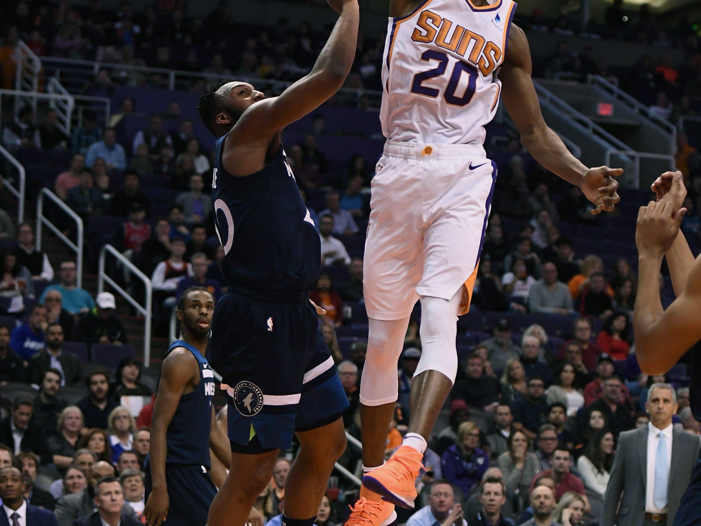 Jan 22, 2019; Phoenix, AZ, USA; Phoenix Suns forward Josh Jackson (20) dunks the ball against the Minnesota Timberwolves in the first half at Talking Stick Resort Arena. Mandatory Credit: Jennifer Stewart-USA TODAY Sports