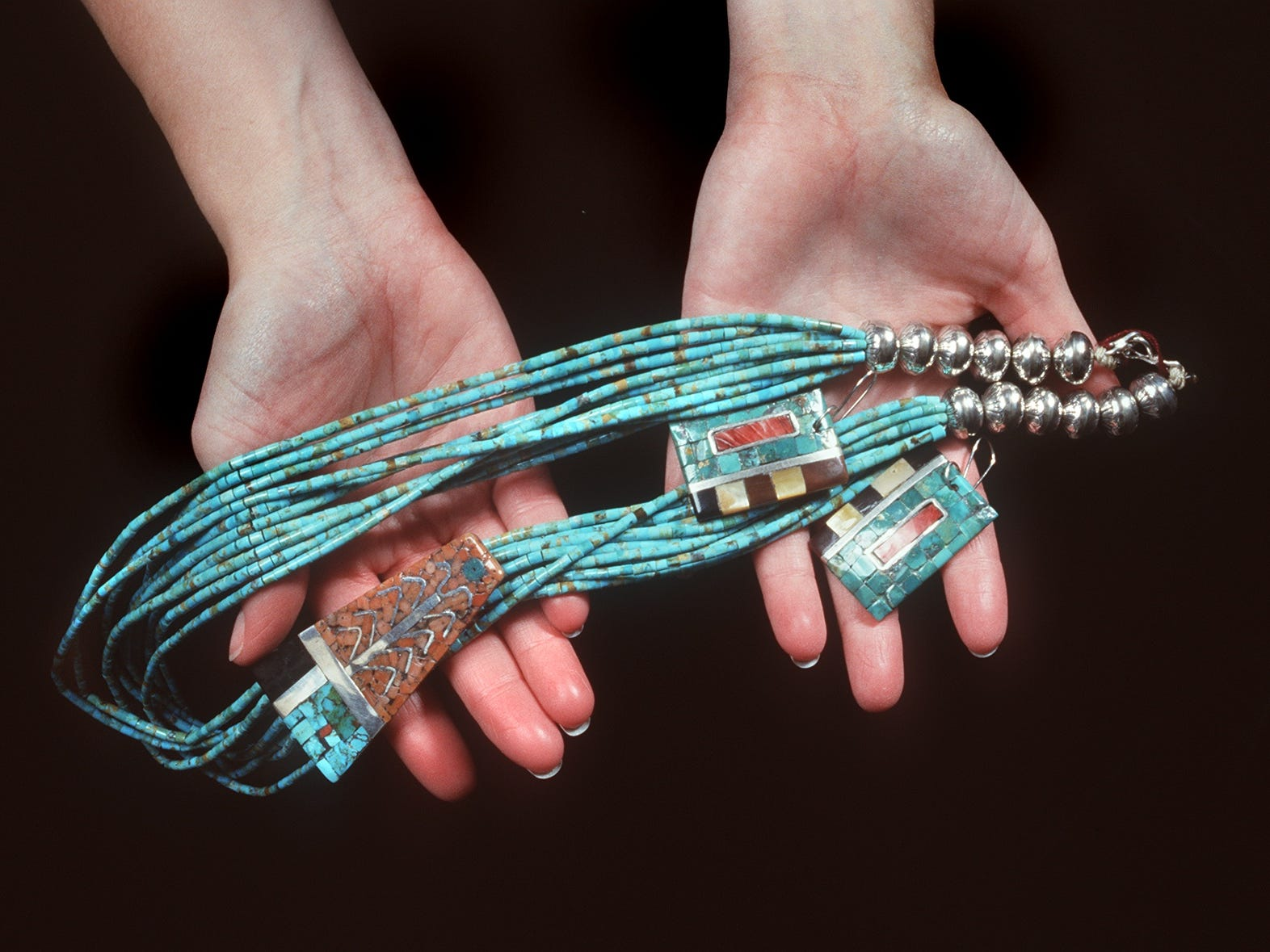 Turquoise, Arizona's official state gem, is often used in Native American jewelry. Arizona turquoise also was one of the official colors of the Arizona Diamondbacks, until the team decided it looked better in Sedona red.