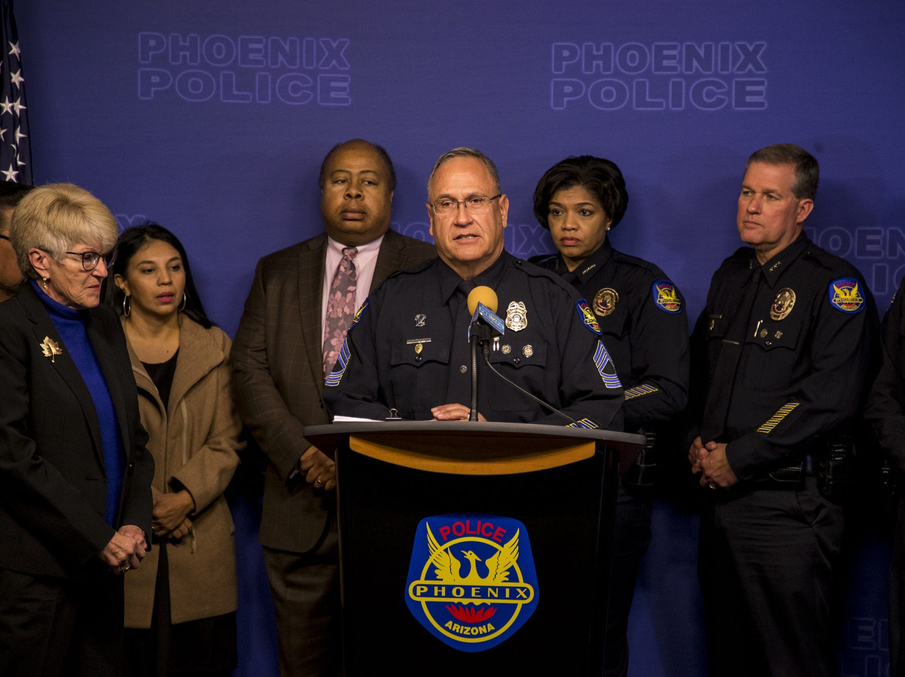 Phoenix Police Sgt. Tommy Thompson speaks during a press conference regarding the arrest of a suspect in the Hacienda rape case, Jan. 23, 2019, at Phoenix Police Headquarters.