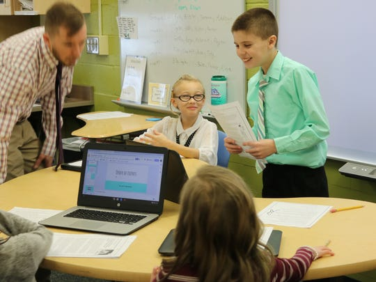 Kyle Abernathy, a third grade student at Bataan Intermediate School, enjoyed stepping into the role of teacher as part of a class project on Wednesday.