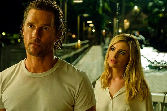 "Matthew McConaughey, left, and Anne Hathaway star in ""Serenity."" The movie opens Jan. 25 at Regal West Manchester Stadium 13 and R/C Hanover Movies."