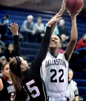 Aniya Matthews, seen here at right in a file photo, scored 14 points in Dallastown's 41-19 win over Gettysburg on Wednesday.