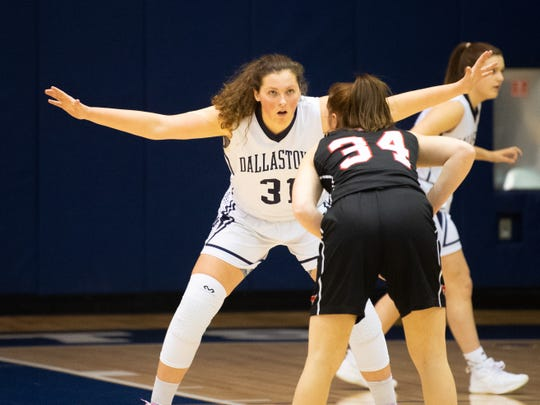 Samantha Miller (31) takes away the passing lane during the YAIAA girls' basketball game between Dallastown and South Western, Tuesday, January 22, 2019 at Dallastown Area High School. The Wildcats defeated the Mustangs 38-35.