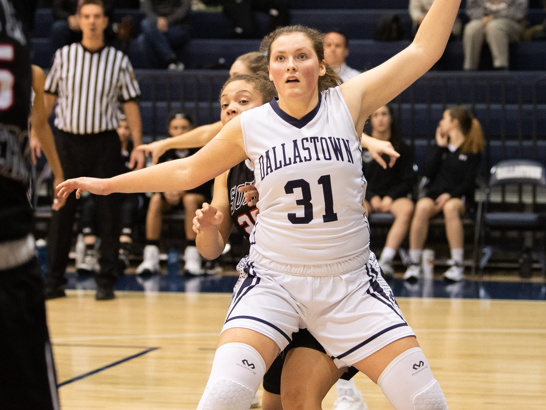 Dallastown's Samantha Miller (31) looks for the pass inside during the YAIAA girls' basketball game between Dallastown and South Western, Tuesday, January 22, 2019. The Wildcats defeated the Mustangs 38-35.