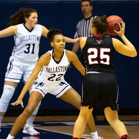 Dallastown's Aniya Matthews (22) plays defense during the YAIAA girls' basketball game between Dallastown and South Western, Tuesday, January 22, 2019 at Dallastown Area High School. The Wildcats defeated the Mustangs 38-35.