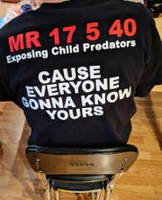 The back of Justin Perry's t shirt in his Lancaster County home Wednesday January 23, 2019. Justin Perry poses as a teen online. He records the meeting with unsuspecting (suspected) pedophiles live on facebook.