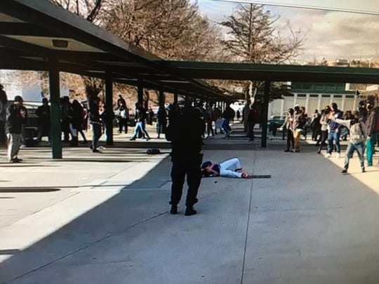 A photo released by the Washoe County District Attorney's Office from the day student Logan Clark was shot by a school police officer after waving knives at school.