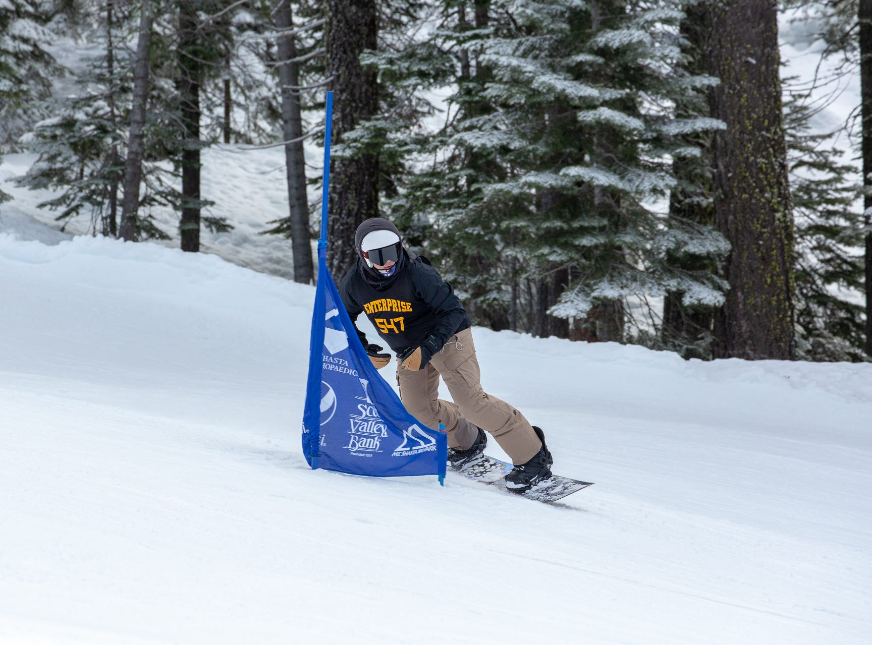 Keenan Mai of Enterprise competes in the second high school snowboard meet of 2019 on Monday, Jan. 21 at Mt. Shasta Ski Park.