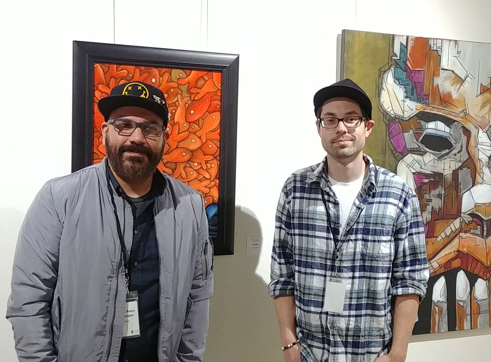 Shasta County artists Karlo Henry Velazquez, left, and Justin Patten.