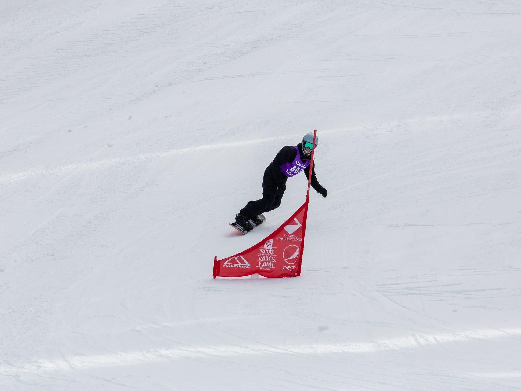 Gabe Rubanowitz of Shasta competes in the second high school snowboard meet of 2019 on Monday, Jan. 21 at Mt. Shasta Ski Park.