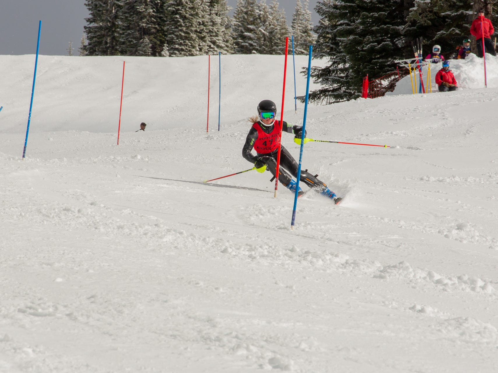 Cooper Laloli of Foothill competes in the second high school ski meet of 2019 on Monday, Jan. 21 at Mt. Shasta Ski Park.