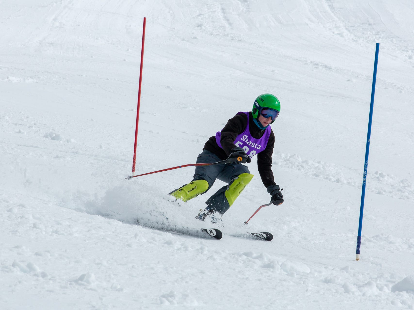 Nick Lindsay of Shasta competes in the second high school ski meet of 2019 on Monday, Jan. 21 at Mt. Shasta Ski Park.