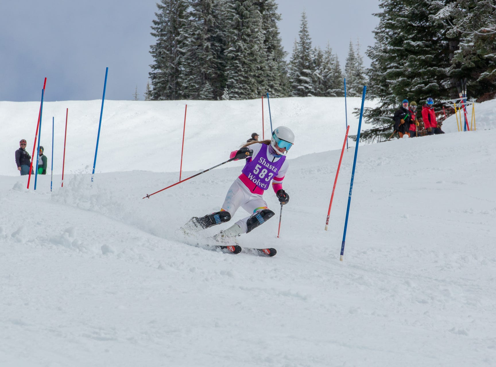 Jenna Randolph of Shasta competes in the second high school ski meet of 2019 on Monday, Jan. 21 at Mt. Shasta Ski Park.