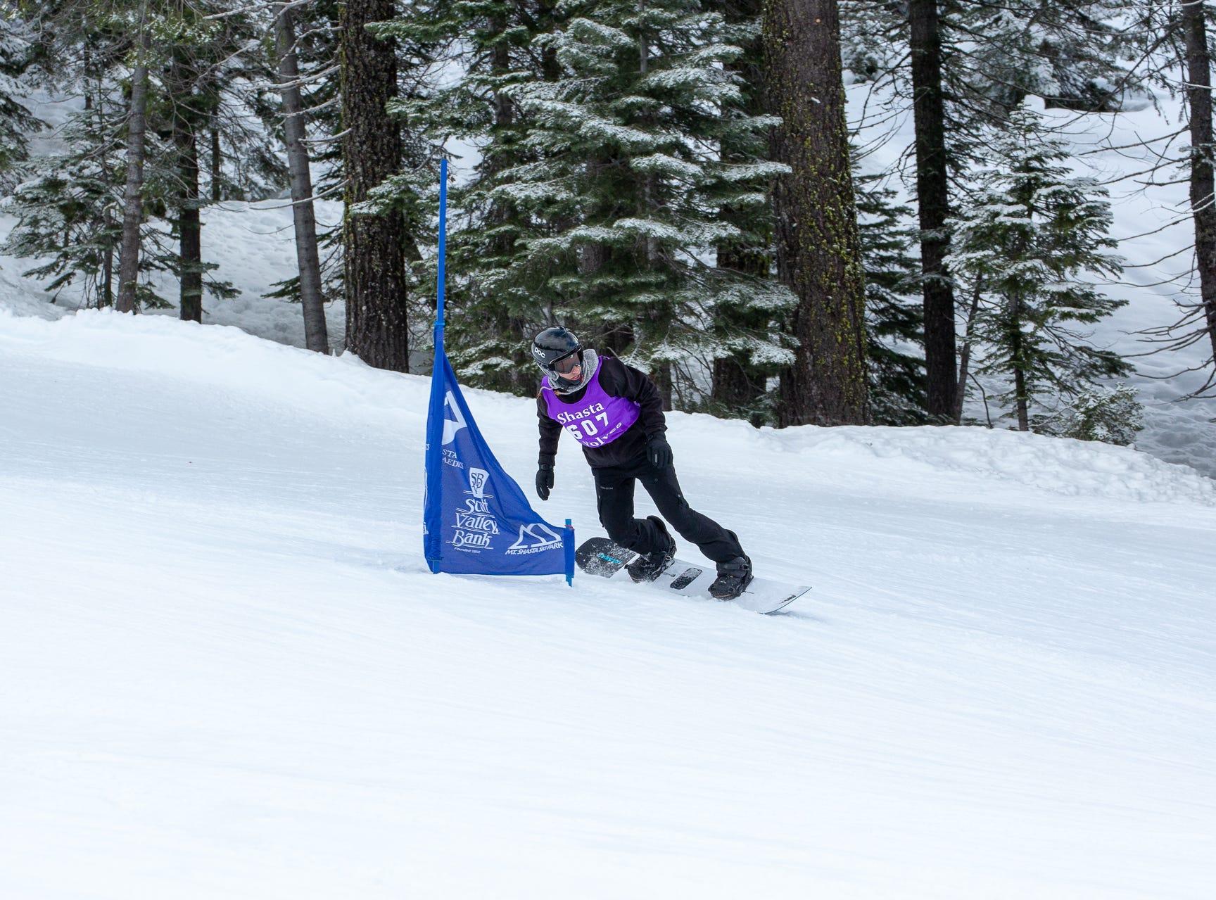 Joe Vericker of Shasta competes in the second high school snowboard meet of 2019 on Monday, Jan. 21 at Mt. Shasta Ski Park.
