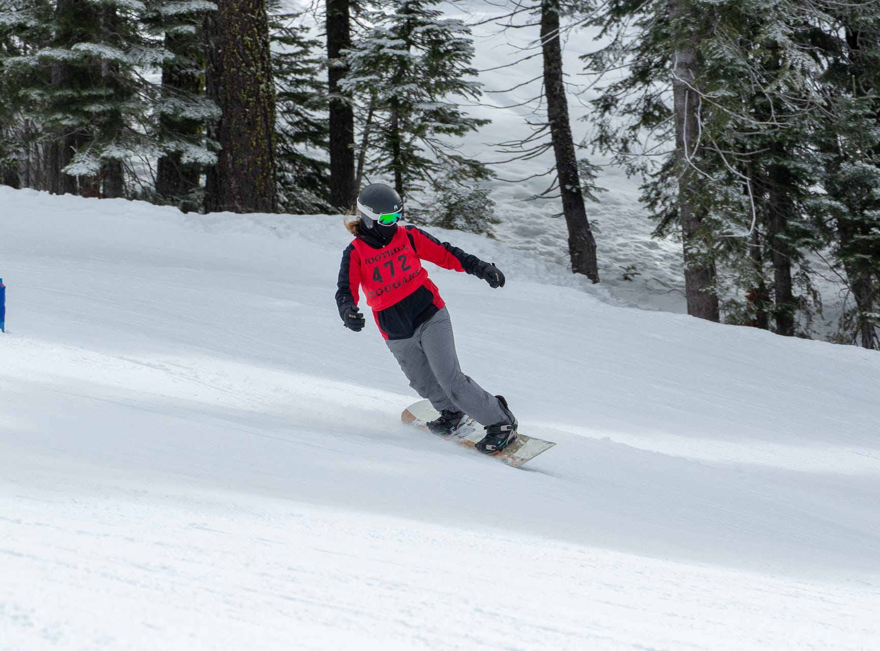 Mattie McKee of Foothill competes in the second high school snowboard meet of 2019 on Monday, Jan. 21 at Mt. Shasta Ski Park.