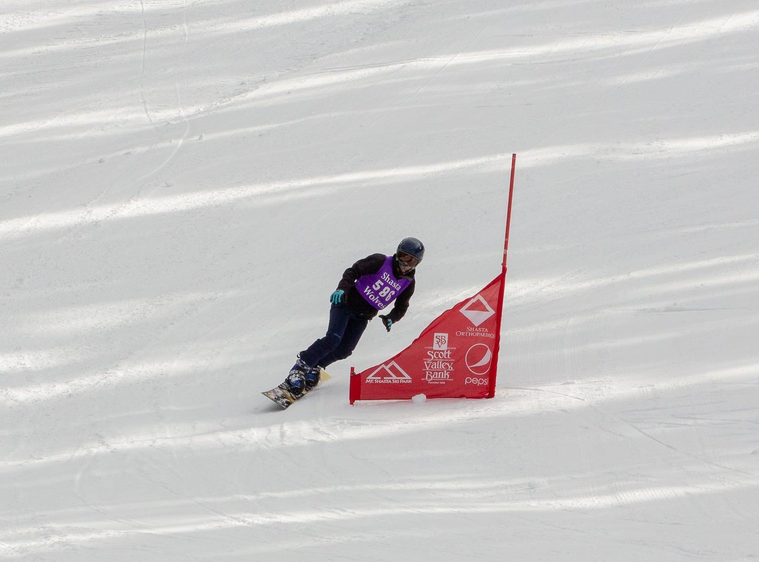 Sage Will of Shasta competes in the second high school snowboard meet of 2019 on Monday, Jan. 21 at Mt. Shasta Ski Park.