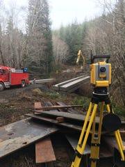 Siegmund Excavation uses a Trimble Robotic Total Station for verifying elevations during a bridge instillation.
