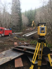 Siegmund Excavation uses a Trimble Robotic Total Station for verifying elevations during a bridge instillation.