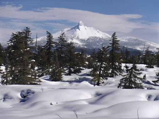 Mt. Washington is seen from the lava flows.