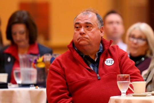 Salem-Keizer Public Schools Board Chair Paul Kyllo listens as Mayor Chuck Bennett gives the State of the City address at the Salem Convention Center in Salem on Wednesday, Jan. 23, 2019.