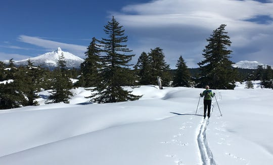 Mt. Washington at left and Belknap Crater at right while skiing on the lava flows.