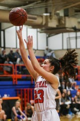 Central's Morgan Walker shoots against Weatherford Tuesday, Jan. 22, 2019, at Central High School.