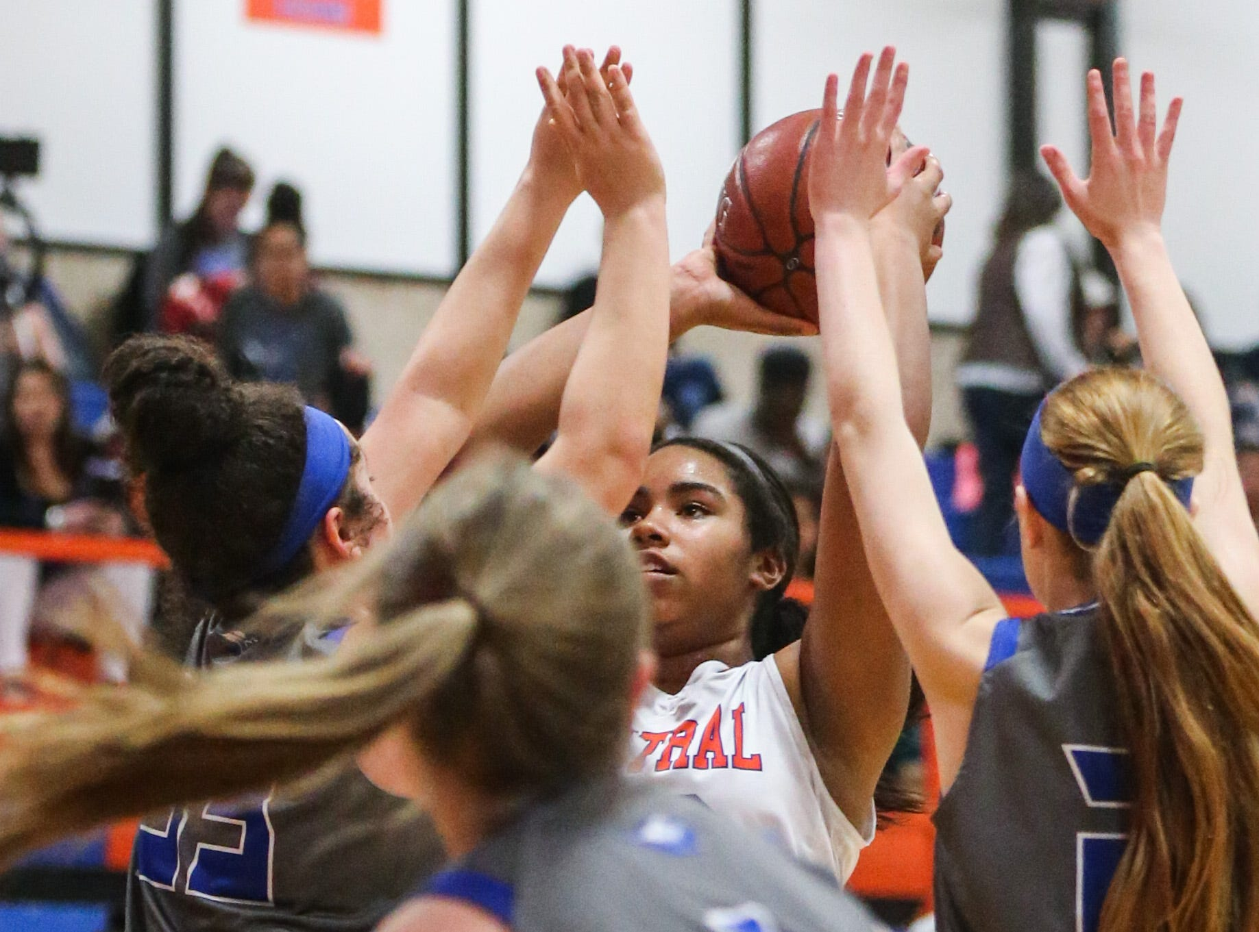 Central's Layla Young is blocked by Weatherford as she tries to shoot Tuesday, Jan. 22, 2019, at Central High School.