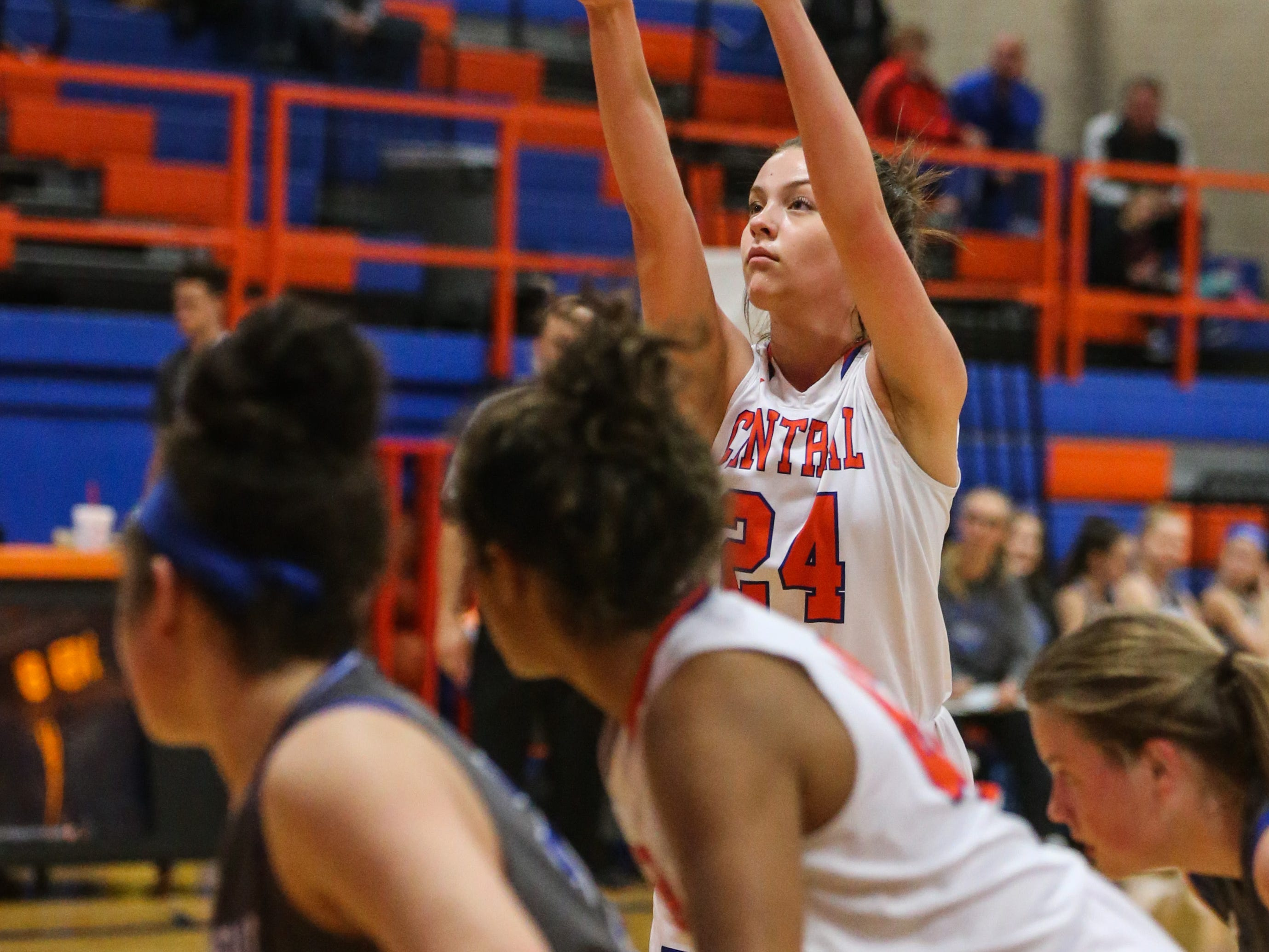 Central's Madison Foley shoots a free throw against Weatherford on Tuesday, Jan. 22, 2019, at Central High School.