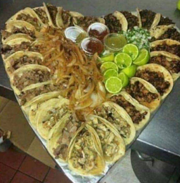 San Angelo food truck offering heart-shaped taco platters for Valentine's Day