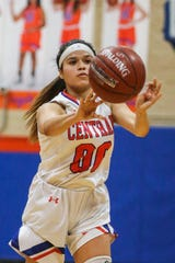 Central's Victoria Lopez passes the ball against Weatherford Tuesday, Jan. 22, 2019, at Central High School.