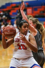 Central's Layla Young dribbles around Weatherford Tuesday, Jan. 22, 2019, at Central High School.