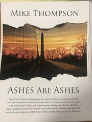 "The cover of San Angelo author Mike Thompson's plan, ""Ashes are Ashes."""