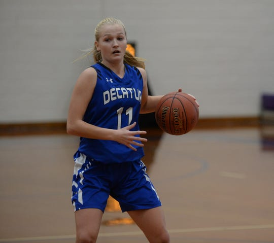 Decatur's Sarah Engle dribbles down court against Crisfield on Tuesday, Jan. 22, 2019.