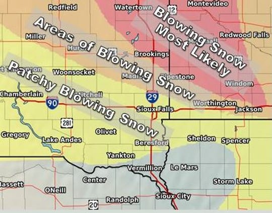 Areas of blowing snow expected for Wednesday, Jan. 23, 2019 in southeast South Dakota.