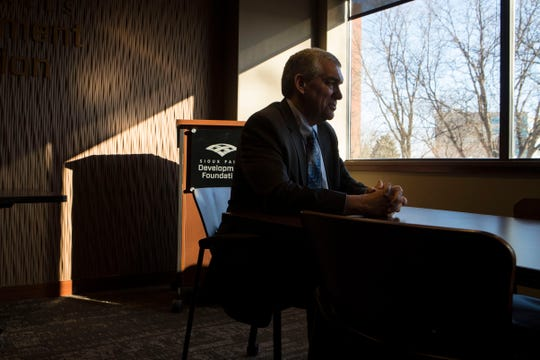 Bob Mundt, president and CEO of the Sioux Falls Development Foundation, speaks with a reporter in Sioux Falls, S.D., Wednesday, Jan. 23, 2019.