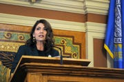 South Dakota Gov. Kristi Noem gives her first budget address to lawmakers at the state Capitol in Pierre.