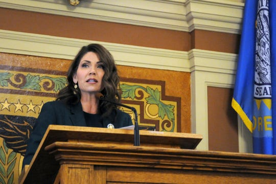 Gov. Kristi Noem gives her first budget address to lawmakers at the state Capitol in Pierre in January.