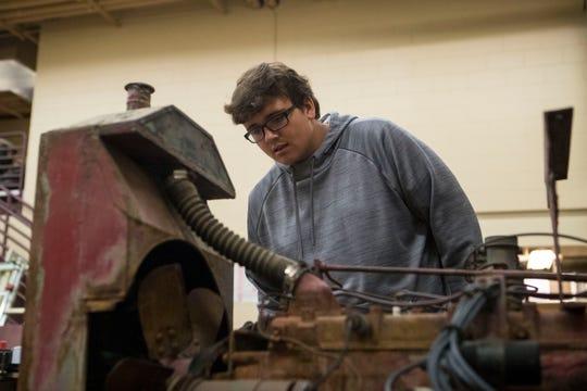 Daniel Willems, 16, participates in agriculture mechanics class at Harrisburg High School, Wednesday, Jan. 23, 2019 in Harrisburg, S.D.