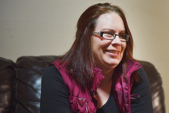 Kellie Dagel, domestic abuse survivor, talks about her experience Thursday, Feb. 15, at her home. Dagel was shot three times in the head by her ex-boyfriend.