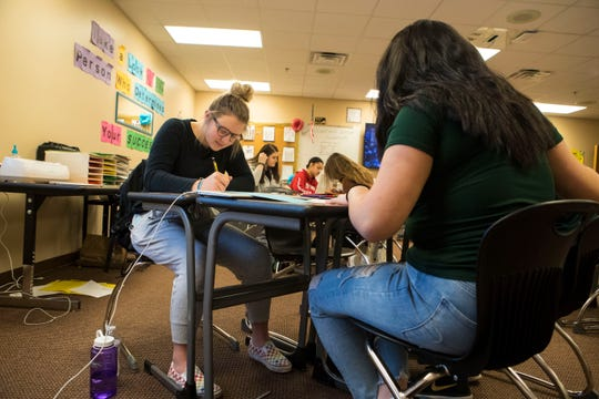 Briana Steffes, 17, participates in interior design class at Harrisburg High School, Wednesday, Jan. 23, 2019 in Harrisburg, S.D.