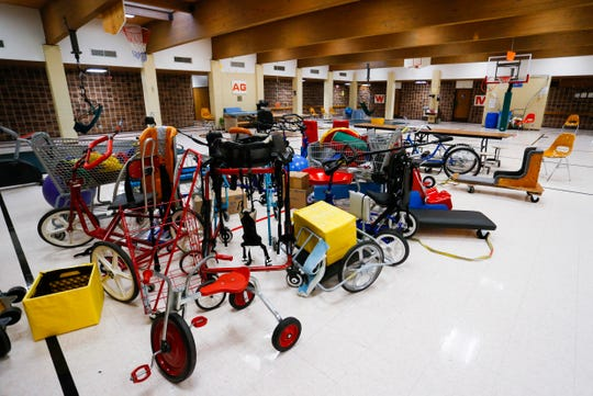 Adaptive recreation equipment in the gym at Greene Valley State School on Wednesday, Jan. 23, 2019.