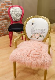 Creative and unique chairs upholstered by Ashley Green, Green Thumb Etc., shown Tuesday, Jan. 22, at her new store in 912 Regency Plaza.