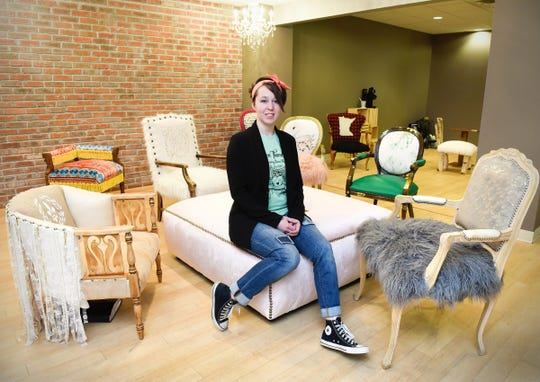 Ashley Green, Green Thumb Etc., shown Tuesday, Jan. 22, is bringing her custom upholstery and furniture creations store to the 912 Regency Plaza.