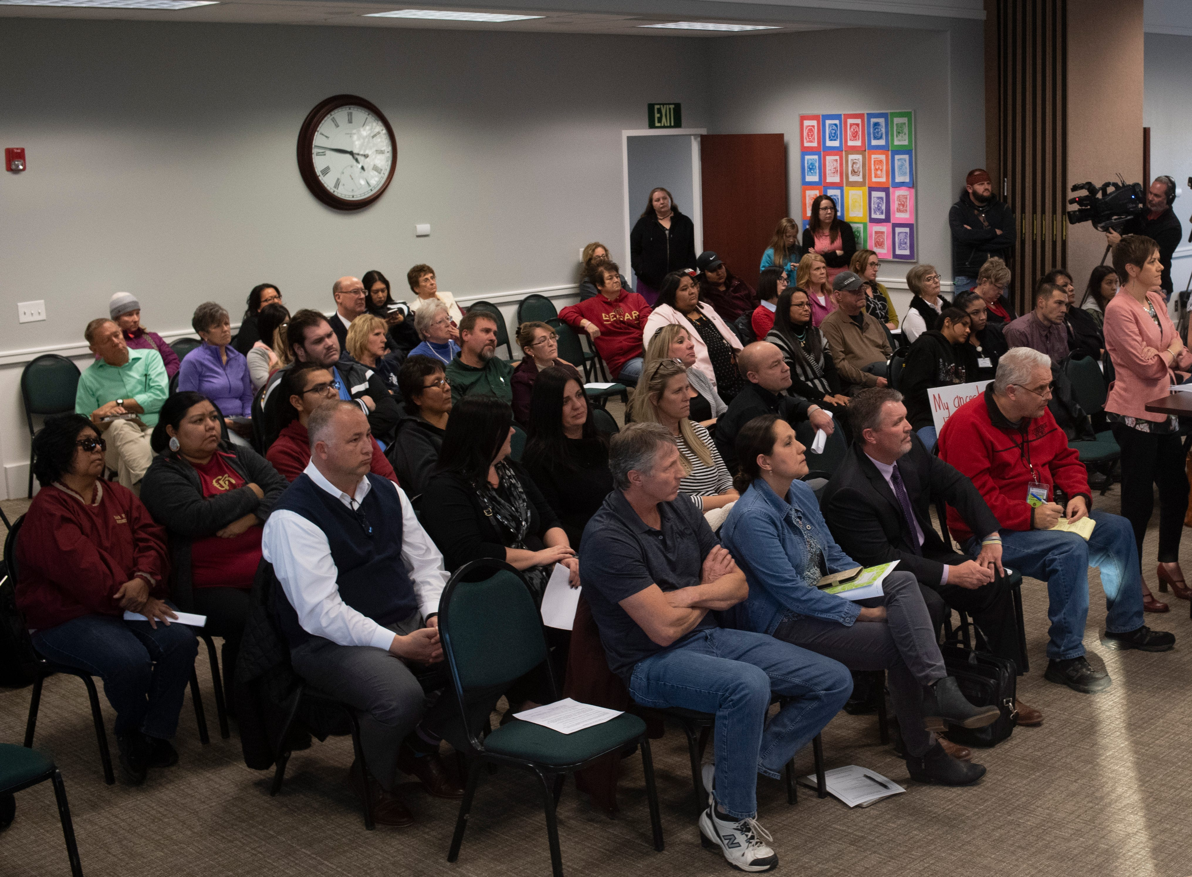 "The Iron County School Board listens to presentations about keeping or changing the Cedar High School ""Redmen"" mascot at a board meeting in the district building Tuesday, January 22, 2019. After both presentations and more than 45 minutes of public comments, the board did not announce when they would vote on the issue."
