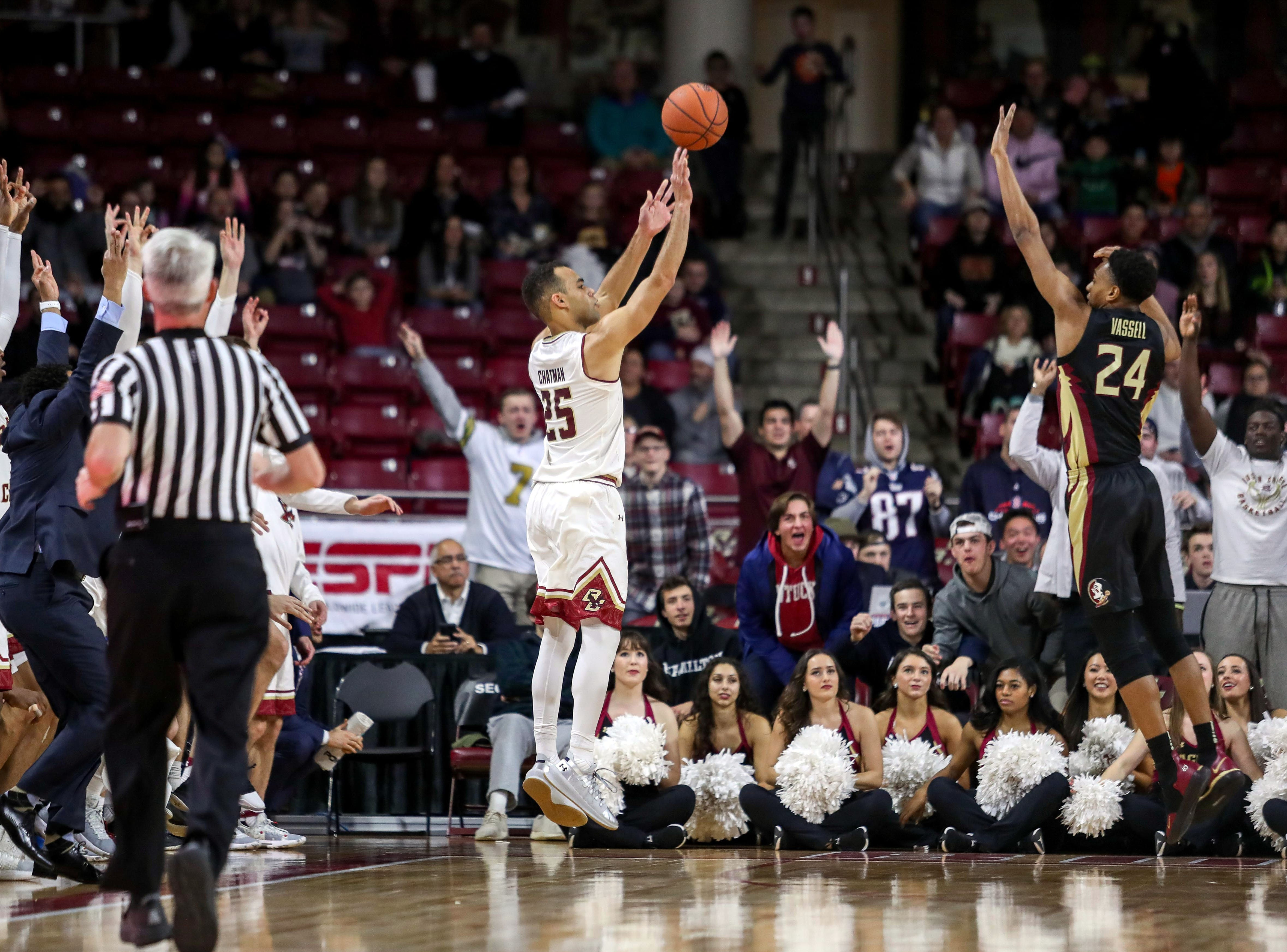 Jan 20, 2019; Chestnut Hill, MA, USA; Boston College Eagles guard Jordan Chatman (25) shoots against Florida State Seminoles guard Devin Vassell (24) during the second half at Conte Forum. Mandatory Credit: Paul Rutherford-USA TODAY Sports