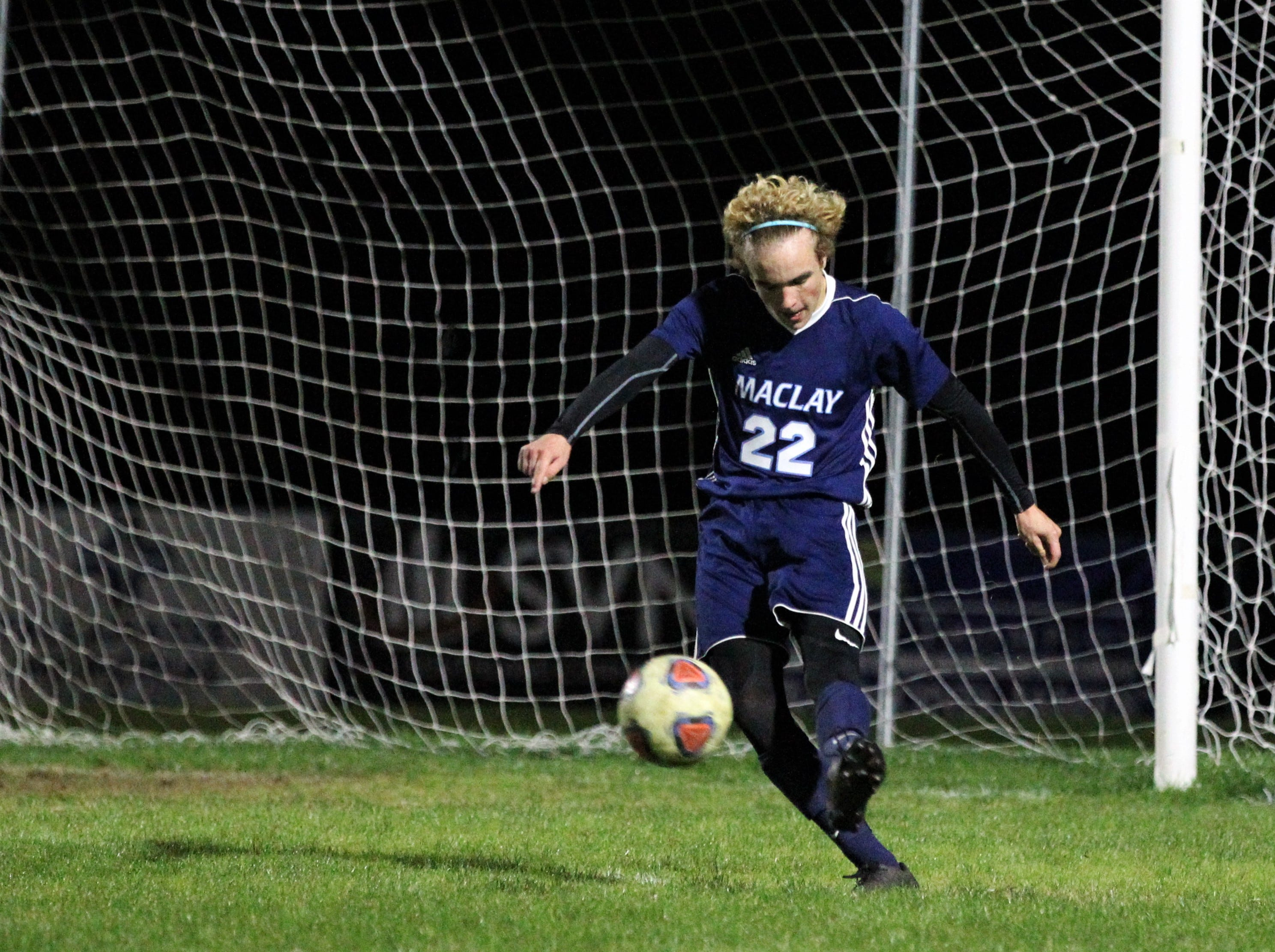 Maclay's Jacob Smith takes a goal kick as Leon's boys soccer team beat Maclay 3-1 on Jan. 22, 2019.