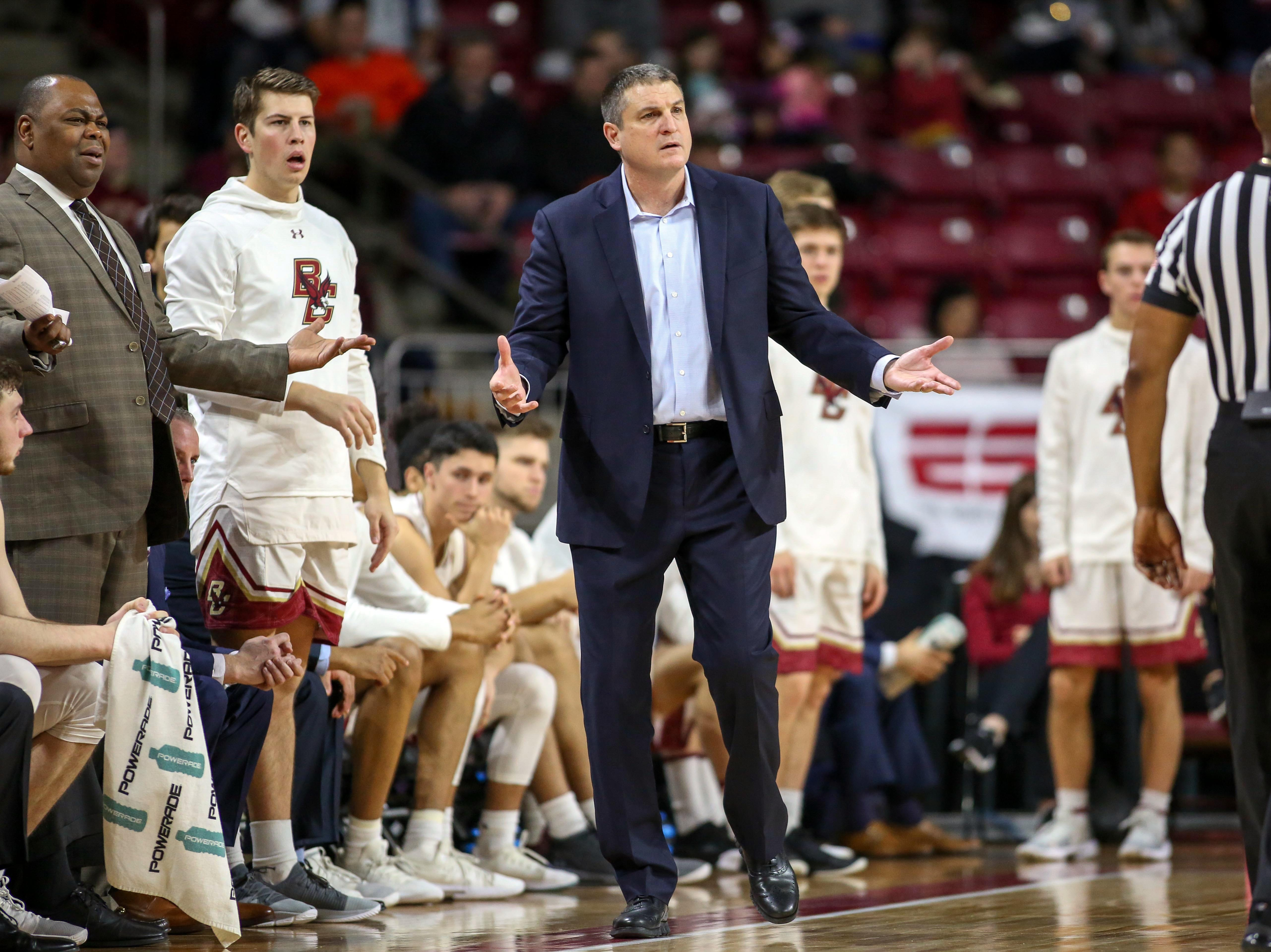 Jan 20, 2019; Chestnut Hill, MA, USA; Boston College Eagles head coach Jim Christian reacts against the Florida State Seminoles during the first half at Conte Forum. Mandatory Credit: Paul Rutherford-USA TODAY Sports