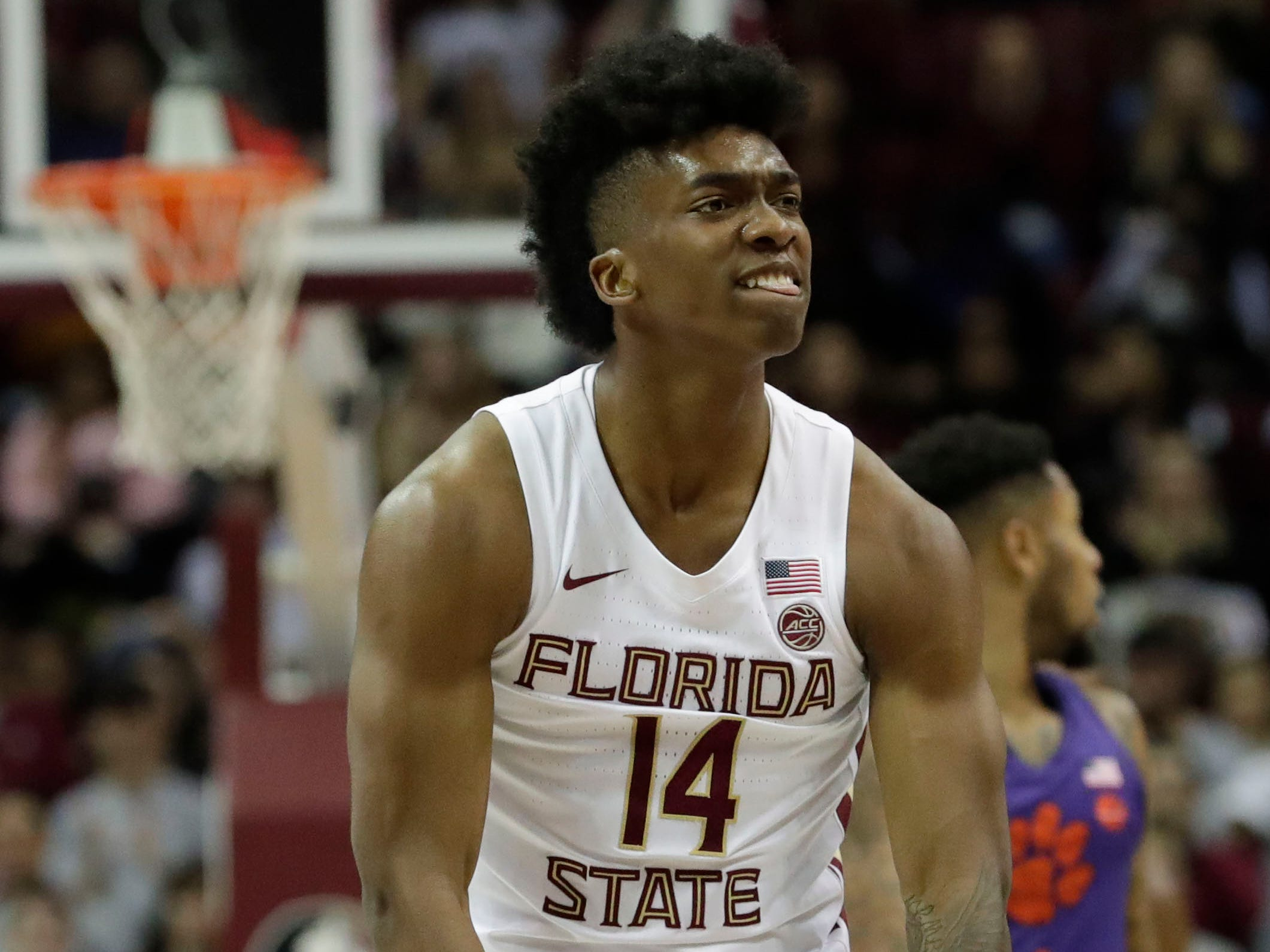 Florida State Seminoles guard Terance Mann (14) celebrates the Clemson shot clock running out. The Florida State Seminoles face off against the Clemson Tigers at the Tucker Civic Center, Tuesday, Jan. 22, 2019.