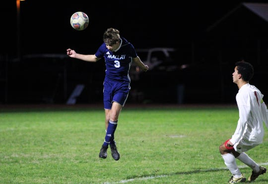 Maclay's Ryan Daunt heads a ball away from danger as Leon's boys soccer team beat Maclay 3-1 on Jan. 22, 2019.